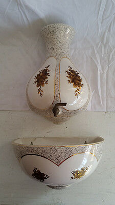 Charleton Lavabo Basin Garden Fountain Planter Porcelain China Hand Painted Gold
