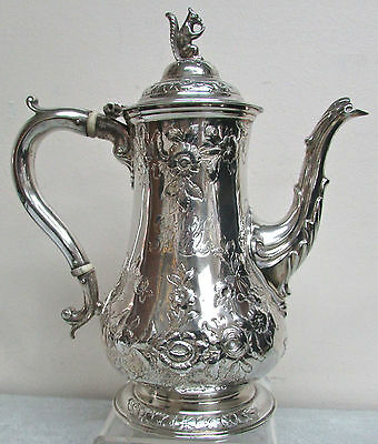 Exquisite George Sharp / Bailey & Co Sterling Silver Squirrel Finial Coffee Pot