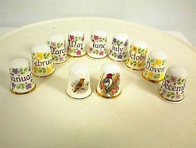 Birthday Month Thimbles Fine Bone China England Birds Flowers Months
