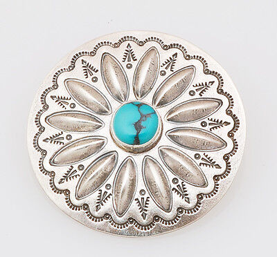 Navajo Handmade Sterling Silver with Natural Turquoise Concho Pin