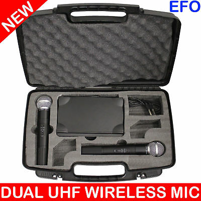 Professional Twin Mic Wireless Microphone System Dual Channel Uhf + Case Wg-58Ii