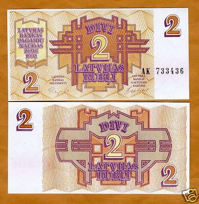 Latvia, 2 Rubli, 1992, Pick 36, UNC >> First Ex-USSR