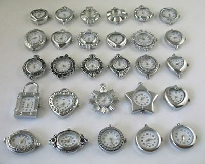 30PCS Mixed style silver Watch Face charms/links W2904