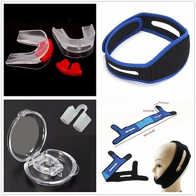 Stop Snoring Belt Sleep Aid Anti Snore Silicone Nose Clip Mouth Guide Device Set