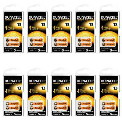 Duracell Activair Size 13 (Orange tab) Hearing Aid Battery (10 packs of six cell