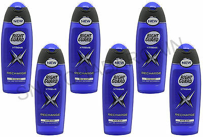 6 x RIGHT GUARD MEN'S BODY-HAIR-FACE SHOWER GEL RECHARGE XTREME REVIVING 250ml
