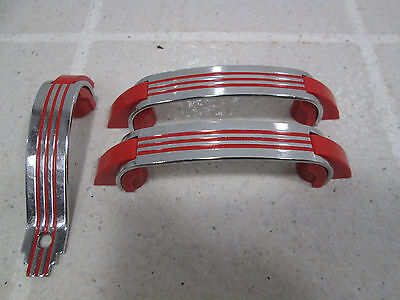 3 Red & Chrome 1950's Style Drawer Pulls #439