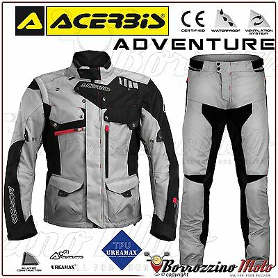 Kit Moto Acerbis Adventure Imperméable Enduro Touring Gris Veste Pantalon S