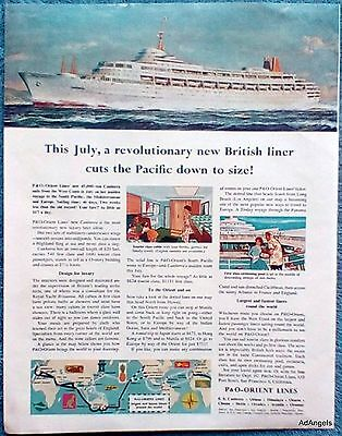 1961 P & O Orient Lines British Liner Canberra Cuts Pacific Down To Size ad