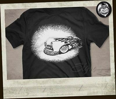 BOMONSTER Merc on Fire T-Shirt Hot Rod Rat Shoebox Mercury Roth Daddy Ed Kustom
