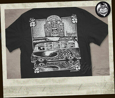 BOMONSTER Buswaves T-Shirt Hot Rod Rat Roth Daddy Ed Kustom Tiki Tikis Fink MOON