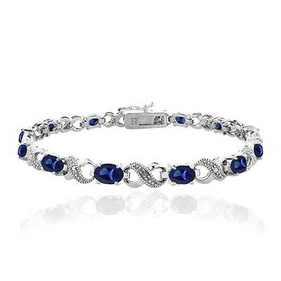 7.2 CARAT Created Blue Sapphire & Diamond Accent Infinity Bracelet in Brass