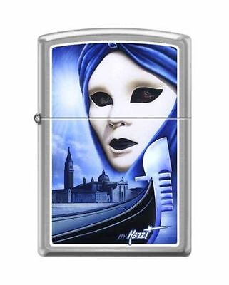 Zippo 7573, Mazzi-Carnival of Venice, Brushed Chrome Finish Lighter, Full Size