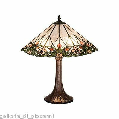 Tiffany Style Stained Glass  Lamp  Floral Victorian  Estate