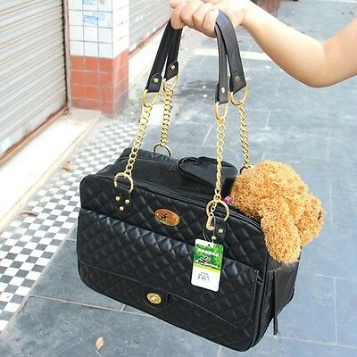 Pet Dog Handbag Black Leather Purse Carrier Travel Carry Bags For Small Animals