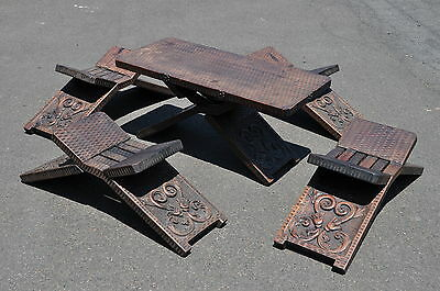 Carved Tribal Table & Chairs Tea Table