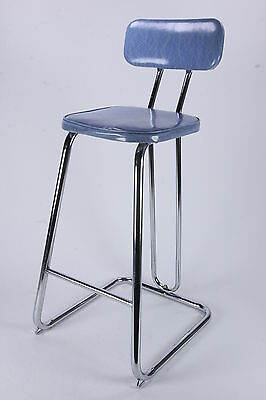 Daystrom Chrome & Vinyl Stool Mid Century Modern Kitchen Bar Seat Hairpin Leg