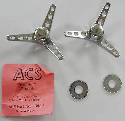 ACS Ben Hur Wing Nuts Pair For 5/16 in Axle on Old School BMX Bike 26 tpi