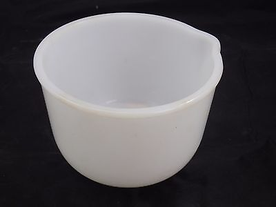 Glasbake Sunbeam White Milk Glass Small Mixing Bowl w/ Pour Spout For Mixmaster