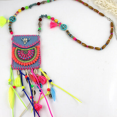2016 New Ethnic Handcraft Jewelry Colorful Silver tauren Long necklaces Pendants