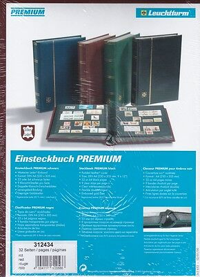 Premium Padded Leather Lighthouse Stockbook, 32 Black Pages, Red or Black Covers