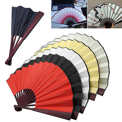 Chinese Silk Blank DIY Calligraphy Painting Drawing Folding Hand Fan US Stock
