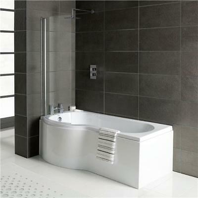 1700mm P shape Shower Bath with Screen and Side Panel Right hand or Left Hand