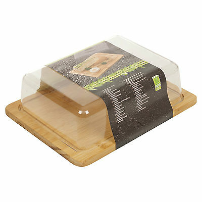 Bamboo Cheese Board & Acrylic Cover Serving Storage Platter Tray Wooden Server