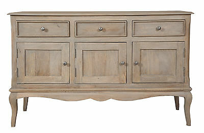 Loire French Grey Solid Mango Wood Triple Sideboard / 3 Door 3 Drawer Sideboard