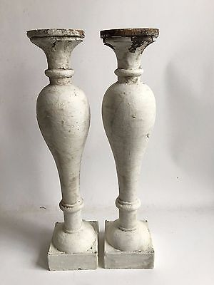 Two(2) Large RECLAIMED Wood SHABBY Candle Holders Antique White Vintage A2