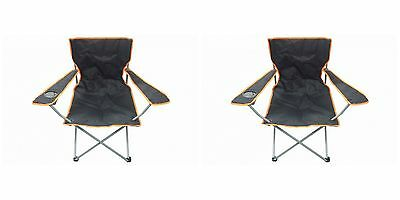 2 Black & Orange Folding Chair With Cup Holder