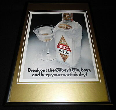 1972 Gilbey's Dry Gin Framed 12x18 ORIGINAL Vintage Advertisement