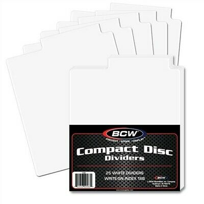 Pack of 25 BCW White Plastic Tabbed Compact Disc CD / DVD / Blu Ray Dividers