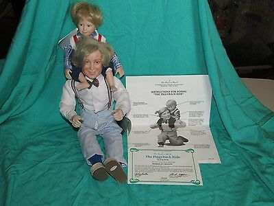 Danbury Mint The Piggyback Ride by Judy Belle Porcelain Doll Grandpa & Grandson