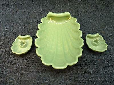 Abingdon Mid Century Ornate Shell Dish And Candle Holders Green (gs)