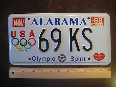 License Plate, Alabama, Olympic Spirit, USA, Olympic Rings,  69  KS , Heart Dixi