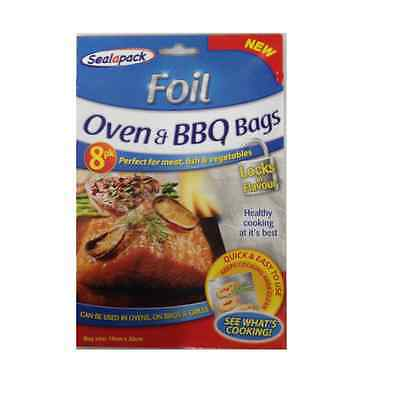 8 Pack Foil Oven & Bbq Bags Barbecue For Meat Fish Vegetables Locks In Flavours