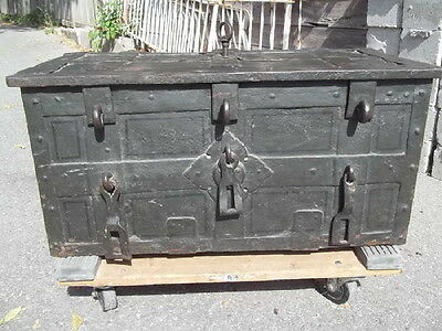 Antique German Strongbox, Center Key, 8 Latches Plus Lock Bolts, 17th Century