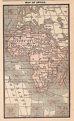 RARE Antique AFRICA Map 1886 RARE MINIATURE Vintage Map of Africa #2798