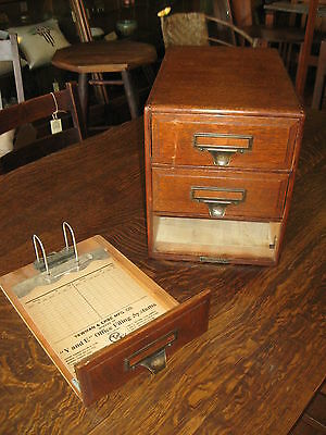 Antique Oak File Y and E Yawman & Erbe Office Flip File Clip Board Type 3 Drawer