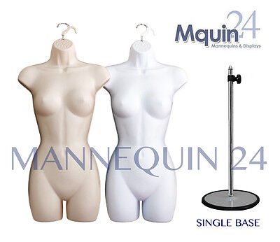 2 Mannequins: Female Flesh & White Dress Body Forms +2 Stands Woman Body Forms