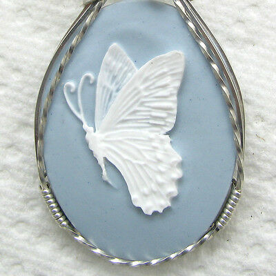 Butterfly Cameo Pendant .925 Sterling Silver Jewelry Blue Resin