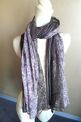 FAB Ladies Scarf/Wrap Purple,Lilac,Black,Brown Lace,Silver Metallic~ 3 Parts