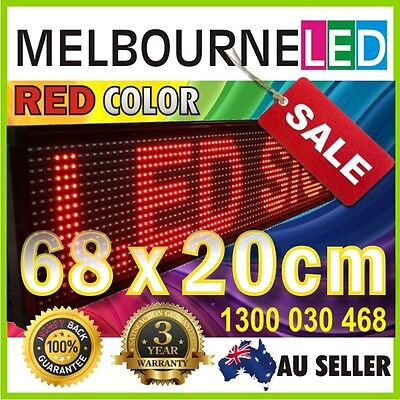 Digital LED Moving Message Sign RED Color 68x20cm SEMI-OUTDOOR PC Programmable