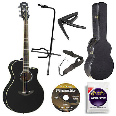 Yamaha APX500III BL Acoustic/Electric Guitar, Black with Case, and Accessories