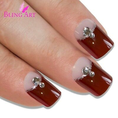 Bling Art False Nails French Manicure Red Brown Crystal Full Cover Medium Tip UK