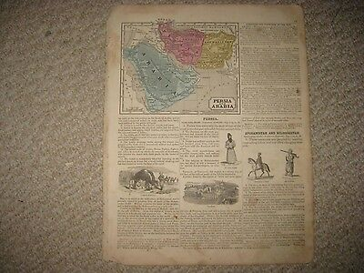 Antique 1854 Persia Arabia Hindoostan Farther India Handcolored Map Middle East