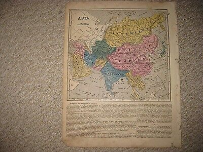 Antique 1854 Asia Handcolored Map China Hindoostan India Arabia Japan Korea Rare