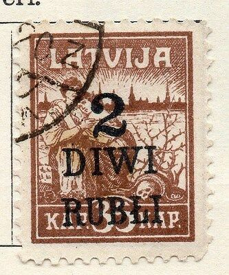 Latvia 1919-20 Early Issue Fine Used 2R. Surcharged 055095
