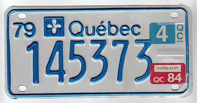 1979 Tag 1984 Quebec Canada Small License Plate 145373